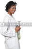 A beautiful black female doctor in a lab coat holding a stethoscope