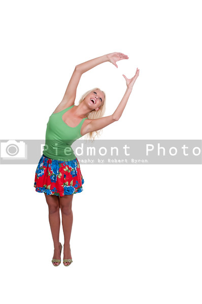 A young Beautiful Woman stretching and smiling