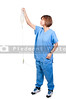 A beautiful young Asian female doctor holding an IV bag