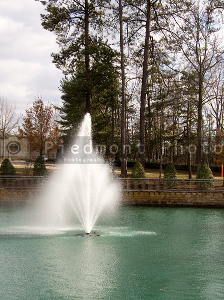 A Fountain geyser in the middle of a pond.