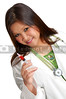 A young female doctor with a syringe