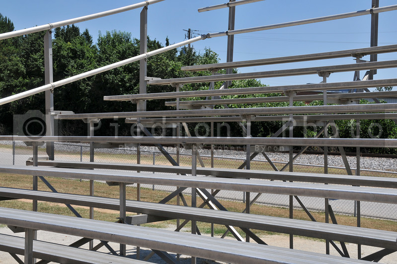 A set of bleachers at a sports field