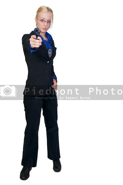 A beautiful police woman on the job
