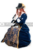 A woman dressed as a renaissance aristocrat in authentic dress as she prays