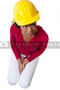 A beautiful black Female Construction Worker on a job site.