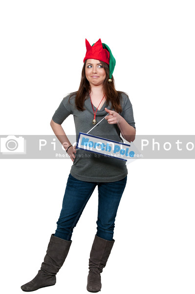a beautiful woman elf holding a north pole sign