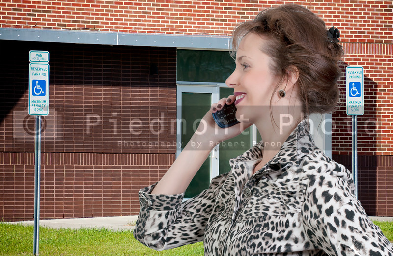 A beautiful woman talking on a cell phone