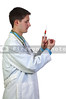 A man doctor with a medical syringe with medicine