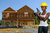 A black African American woman Construction Worker on a job site.