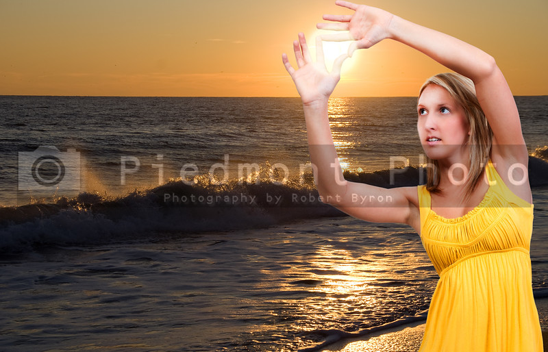 A beautiful young woman hanging the sunset