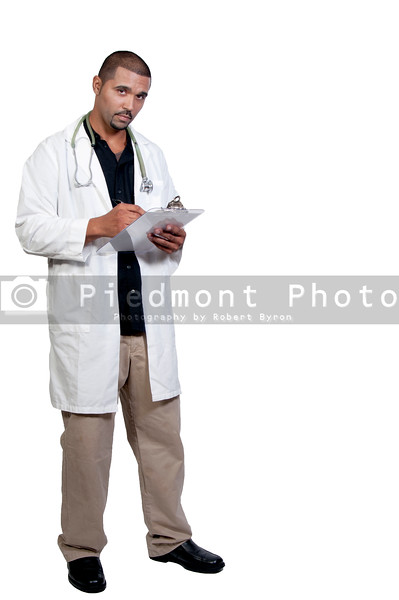 A handsome male doctor in a lab coat