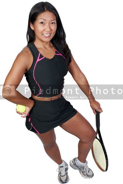 A beautiful woman ready to play tennis