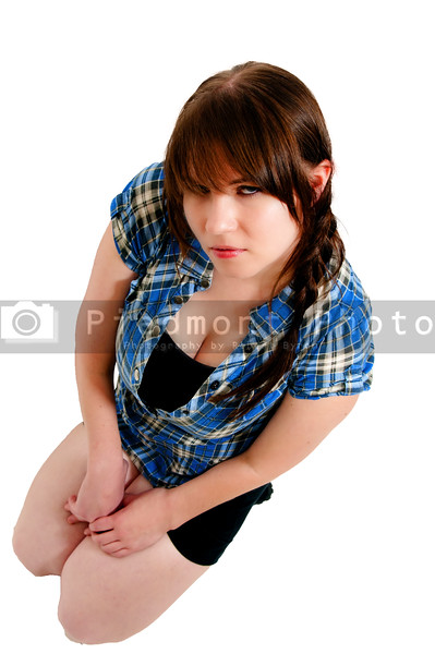 A young Beautiful Woman sitting on the floor