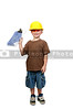 A little boy dressed for a construction job