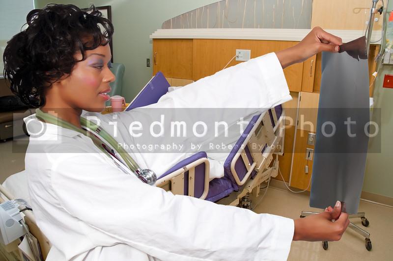 A beautiful female doctor in a lab coat