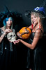 Beautiful young witches with a skull and a snake in a jack-o-lantern