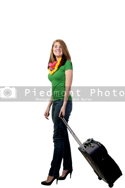 A beautiful young woman going on vacation