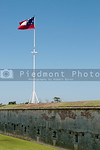 The Confederate National Flag flying over Fort Macon, NC
