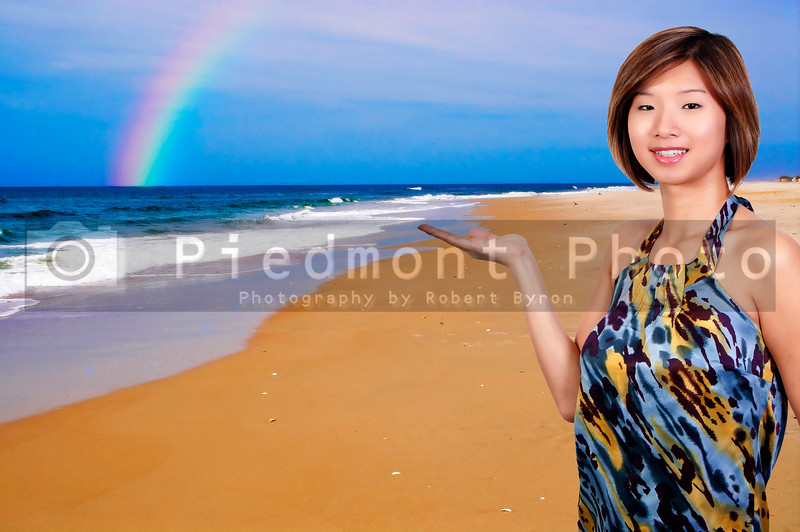 A beautiful sexy young Asian woman at the beach