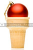 A Christmas ornament in an ice cream cone.