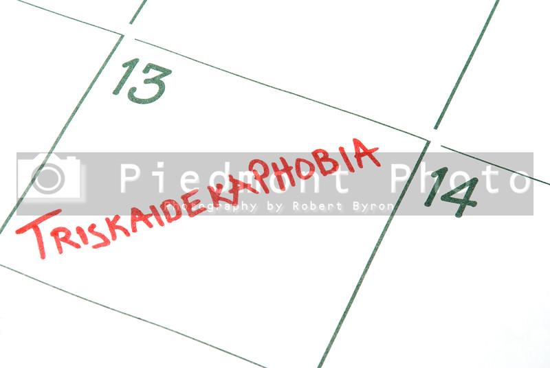 A calendar entry on Friday the 13th for Triskaidekaphobia