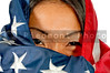 An Arab woman wrapped in an American flag