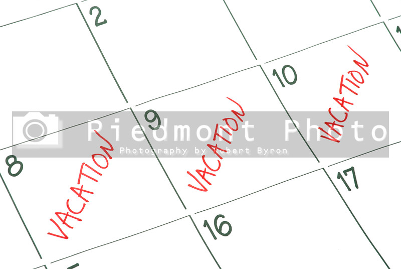 A calendar with vacation days marked off