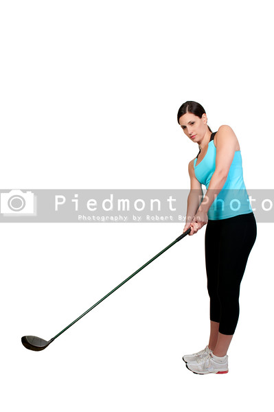 A very beautiful and young woman golfer