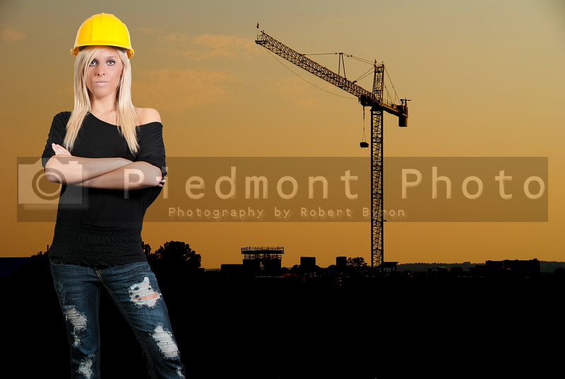 A female construction worker at a job site