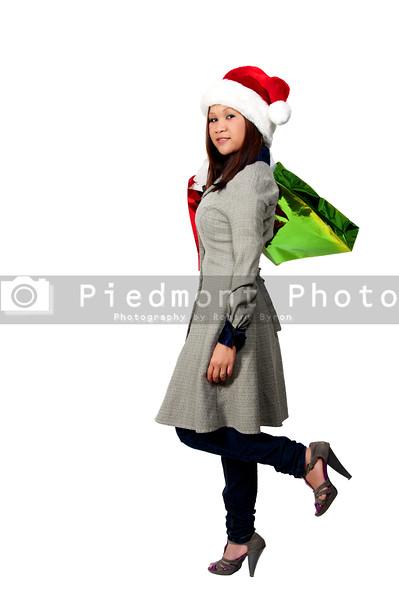 A beautiful young Hispanic woman on a shopping spree