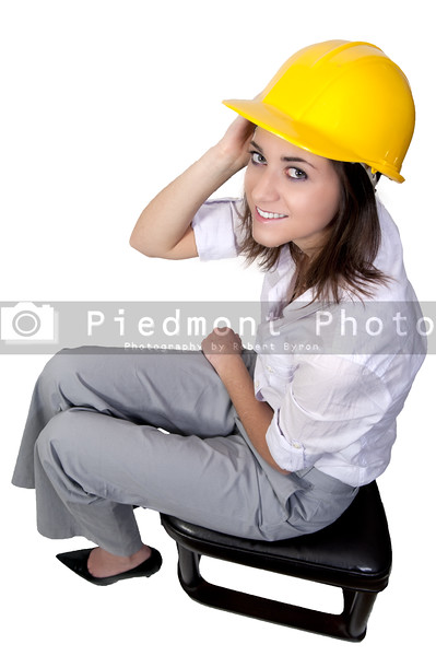 A Female Construction Worker on a job site.