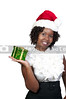 A beautiful young woman wearing a Santa hat