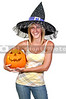 A woman dressed as a witch for Halloween