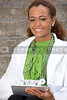 A beautiful female doctor in a lab coat