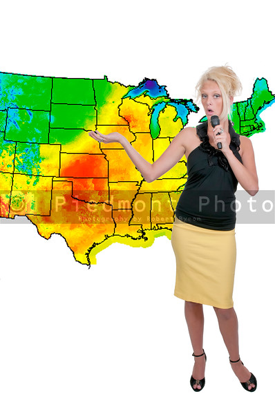 A beautiful woman weather girl with a microphone