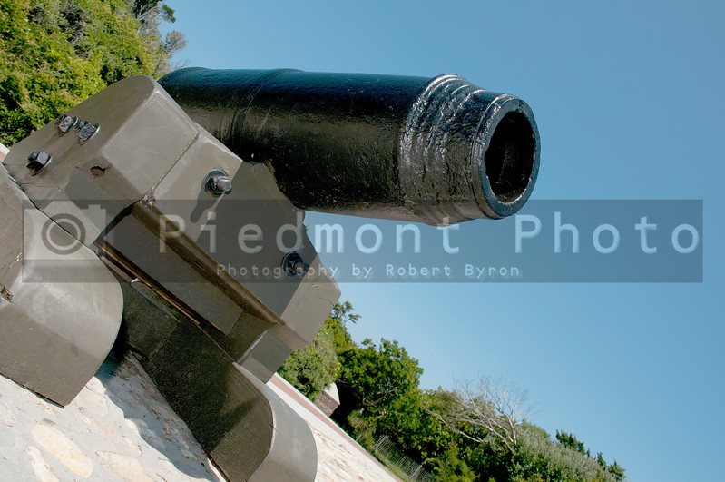 An old civil war cannon at Fort Macon, NC USA