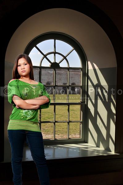 A beautiful young hispanic latino woman looking far away