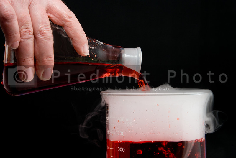 A scientist pouring a solution into a Beaker