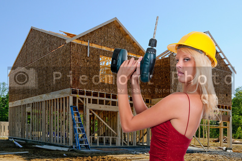 A beautiful woman Construction Worker on a job site.