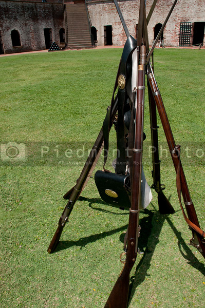 A stack of antique musket rifles from the civil war