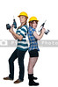A couple of young Women Construction Worker on a job site.