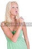 A young Beautiful Woman pretending to shoot with her finger