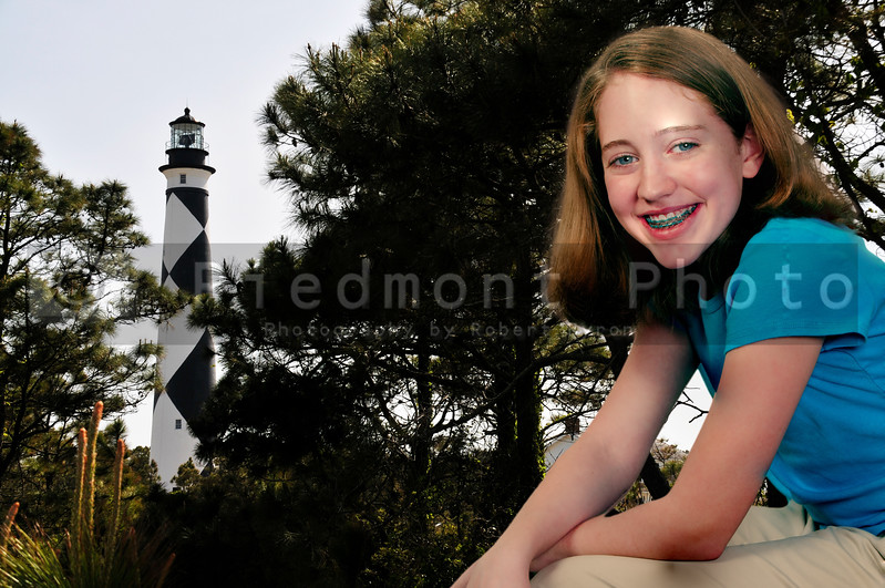 A girl at the Cape Lookout Lighthouse on the North Carolina Coast