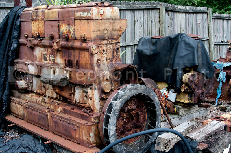A Diesel Train Engine at an old rail yard