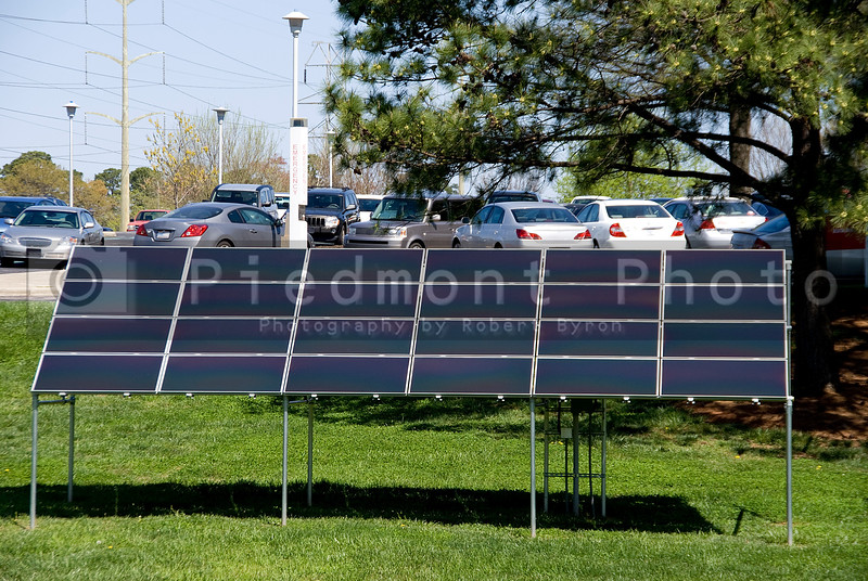 A series of solar panels used to covert sunlight into electricity.