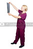 A beautiful female radiologist examining an x-ray