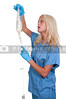 A beautiful young woman doctor holding an IV bag