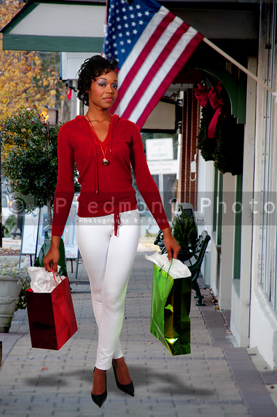 A young black woman on a shopping spree