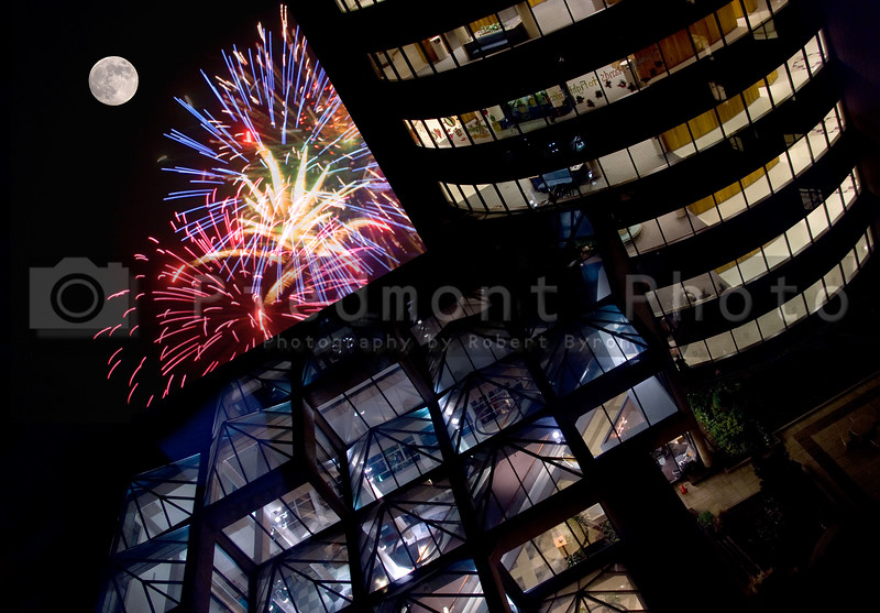 Fireworks at an Office Building