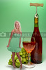 A beautiful blonde woman standing beside a giant wine bottle and glasse